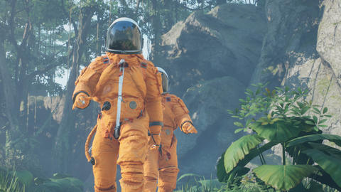 Research astronauts landed on an alien green planet. Animation for fantasy, science fiction Animation