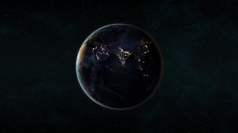 Planet Earth at night (Black Marble), full rotation on a black background Animation