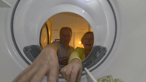 Rich Senior couple Taking Money Dollars 4K Live Action