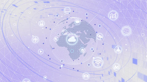 Technology Icon Network World Internet Digital devices on space Earth background 7R N1W 動畫
