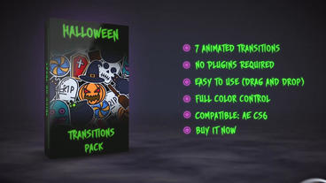 Halloween Stickers Transitions After Effects Template