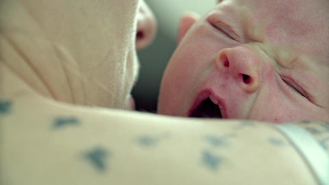Newborn Baby Yawns Closeup Shoulder Tatoo Footage