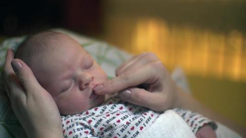 Sleeping Newborn Baby Smiling Stroking Footage