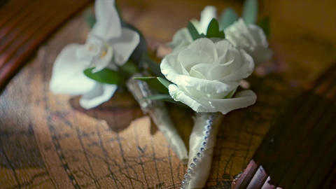 Beautiful Boutonniere Made From the White Rose Footage