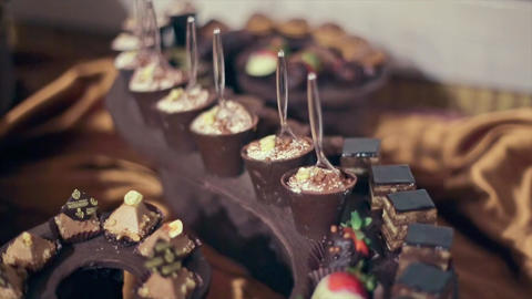 Beautiful Wedding Dessert Table Candy Bar Tiramisu Footage