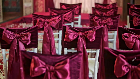 Beautiful Fabric Bow on Chair Wedding Decoration Footage