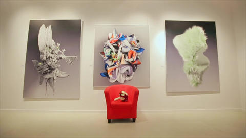 Wedding Bouquet on Armchair Paintings Footage