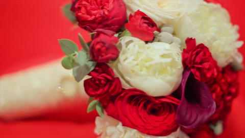 Flower Wedding Bouquet Isolated on Red Background Footage
