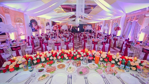 Interior of Wedding Hall Decoration Ready For Guests Footage