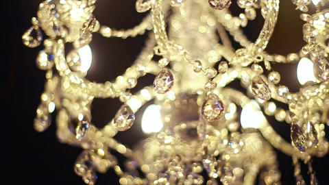 Vintage Lamp Illuminating Dark Wall Background Footage