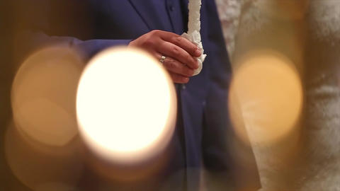 Groom and Bride with Candles Wedding Ceremony in Church Footage