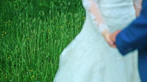 Weeding Theme Holding Hands Newlyweds Footage
