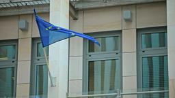 Waving Flag of European Union on Building Footage