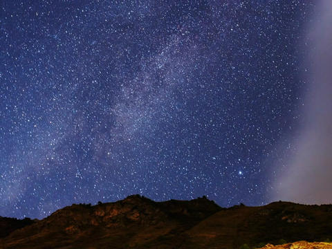 The Milky Way and fast clouds. Panorama. TimeLapse Footage
