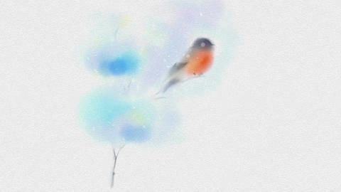 Painted In Watercolor Christmas Card With Bullfinch Stock Video Footage