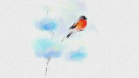 Painted In Watercolor Christmas Card With Bullfinch Animation