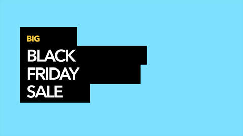 Animation intro text Black Friday on blue fashion and minimalism background with geometric shape Animation