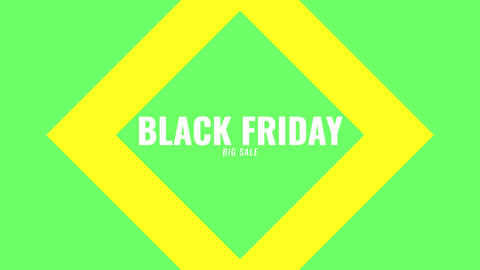 Animation intro text Black Friday on green fashion and minimalism background with geometric lines Animation