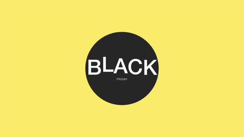 Animation intro text Black Friday on yellow fashion and minimalism background with circle Animation