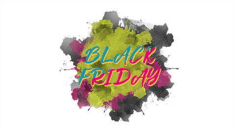 Animation intro text Black Friday on purple fashion and brush background Animation