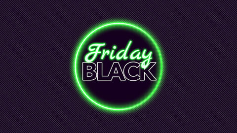 Animation intro text Black Friday on fashion and club background with glowing circle Animation