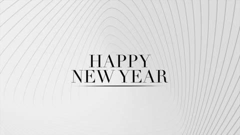 Animation intro text Happy New Year on white fashion and minimalism background with geometric lines Animation