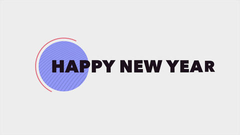 Animation intro text Happy New Year on white fashion and minimalism background with geometric shape Animation