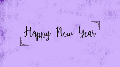 Animation intro text Happy New Year on purple fashion and minimalism background Animation