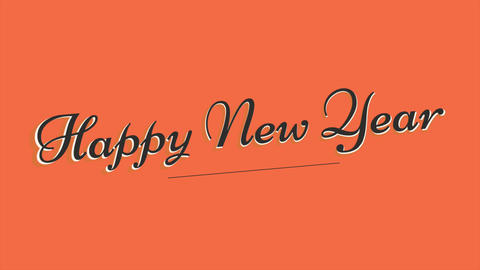 Animation intro text Happy New Year on orange fashion and minimalism background Animation