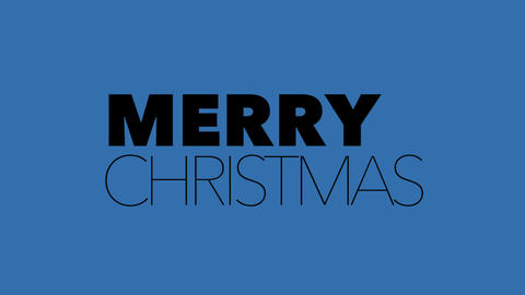 Animation intro text Merry Christmas on blue fashion and minimalism background Animation