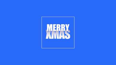 Animation intro text Merry Xmas on blue fashion and minimalism background with geometric frame Animation