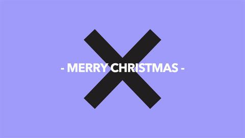 Animation intro text Merry Christmas on purple fashion and minimalism background with geometric Animation