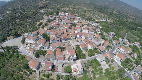 Aerial view of Mili village at Samos island in Greece GIF