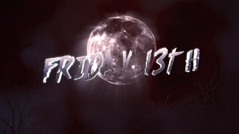 Animation text Friday 13th and mystical animation halloween background with dark moon and clouds Animation