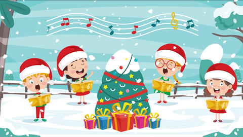 Christmas Greeting Animation With Cartoon Characters 動畫