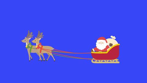 Santa Claus animation Blue back chroma key Animation