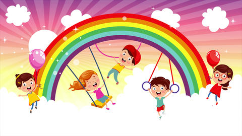 Funny Children Playing At Colorful Rainbow Animation