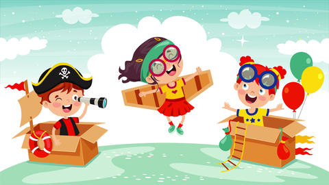 Happy Kids Playing With Cardboard Costumes Animation