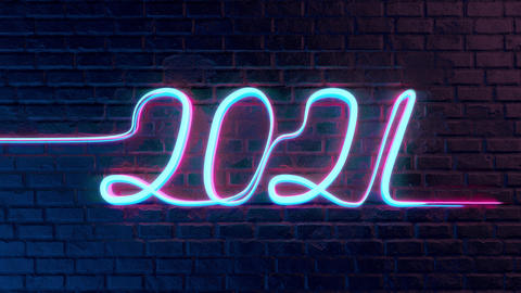 Colored 2021 text generated from light neon lines Animation