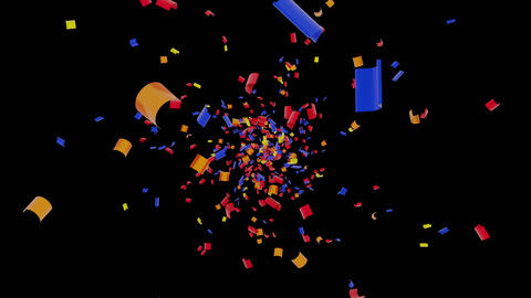 Colourful Confetti Falling On Black Background. Holiday, Celebration, Anniversary themed concept 動畫