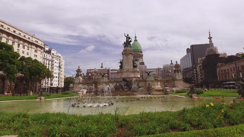 Buenos Aires, Argentina. Congress Building Monument and Fountain at Public Plaza Live Action