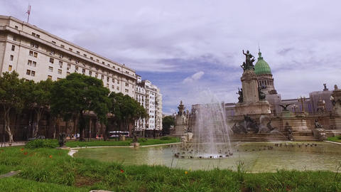 Fountain and Monument at Congressional Plaza in Buenos Aires, Argentina Live Action