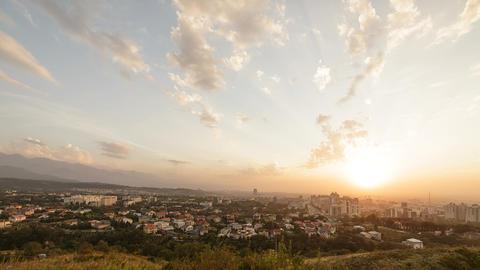 Sunset over Almaty. View from Kok-Tobe. Kazakhstan Footage