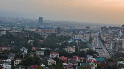 General view of the prospectus Al-Farabi. Dusk. Almaty, Kazakhstan Footage