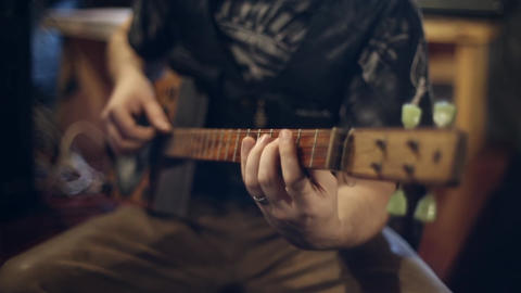 Guitarist plays on the electric guitar Stock Video Footage