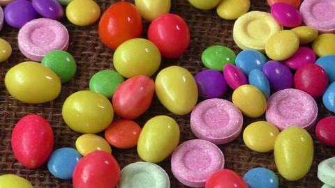Many different color candies Live Action