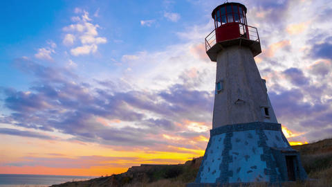 Lighthouse at Sunset Footage