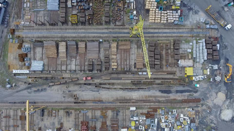 Industrial storage place, view from above. Steel elements Footage
