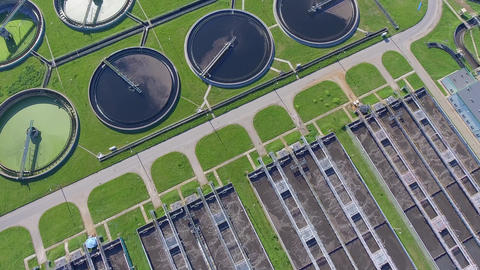 Aerial view of sewage treatment plant in Poland Footage