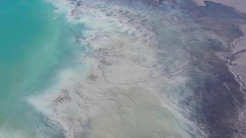 Degraded landscape in Poland. Destroyed land. View from above. Surrealistic lake Footage